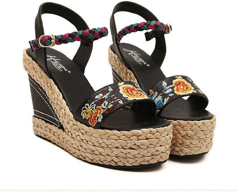 YUhe2018Cw Yu He Fashion Summer Slope Sandals Loafers shoes High Platform Summer Wedge Sandal Women Black 35