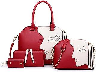 Shoulder Bag Lady Bags Backpack New Female Bag_ New Female Bag Beauty Smile Face Mother Bag European and American Shoulder Bag Handbag Clutch (Color : Red Wine)