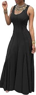 Women's Sleeveless Pleated Swing Maxi Cocktail Dress Floor Length