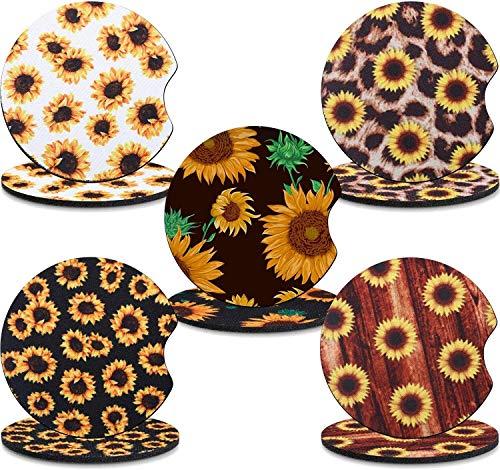 Conjunto de 10 Piezas de Coaster Sunflower Cura DE CUCHA DE CUCHA DE CUCHE DE CUCHE DE CUCTURA DE Cubiertas DE LA Cubierta DE LA CUCTURA DE LA Taza DE LA Taza del CUCHO Personalidad Creativa