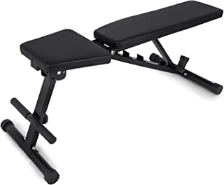 Popsport 440/660LBS Folding Sit Up Bench Adjustable AB Incline Flat Weight Bench Foldable Fitness Training Weight Bench with Adjustable Seat for Full Body Workout (660LBS)