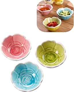 Mary Paxton 3PACK Sauce Dish Set,Rose Ceramic Appetizer Plates Tasting Dishes Dipping Bowls Mini Condiment Porcelain Flower Shape Saucer Bowl Desert Baking Small Ramekins Snack Seasoning Salad Soy Oil