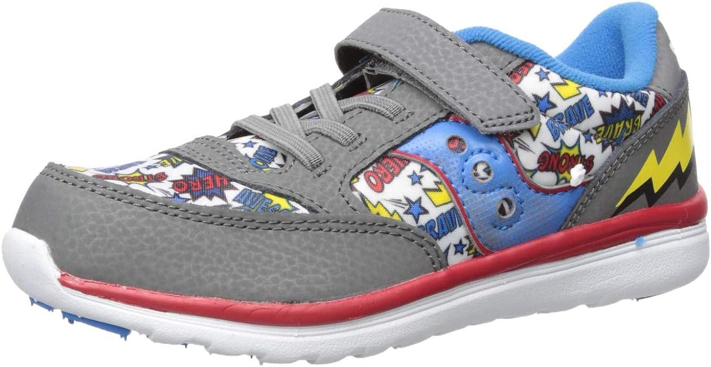 Saucony Unisex-Baby Jazz Lite Sneaker, Grey/Multi/Superhero, 6.5 Toddler