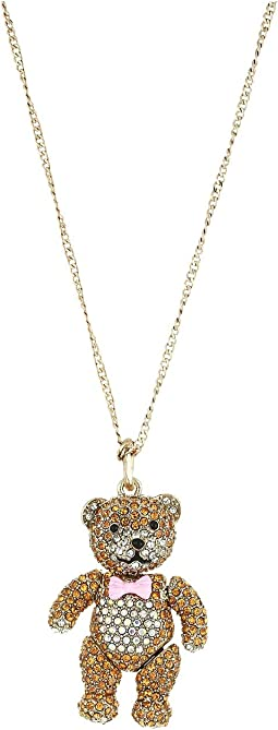 Pave Teddy Bear Pendant Long Necklace