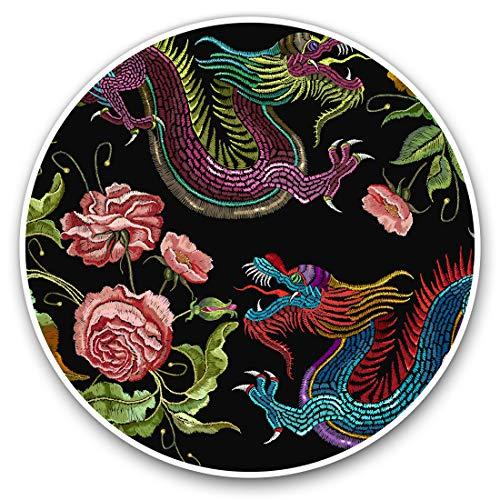 Pegatinas de vinilo (juego de 2) 7,5 cm, diseño de dragón chino tradicional #14443