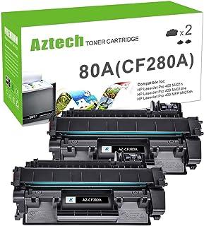 Best Aztech Compatible Toner Cartridge Replacement for HP 80A Laserjet 80A CF280A 80X CF280X Laserjet Pro 400 M401A M401D M401N M401DNE MFP M425DN (Black, 2-Pack) Review