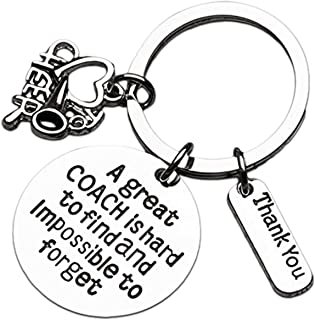 Cheer Coach Gift- Cheerleading Coach Keychain, Great Coach is Hard to Find But Impossible to Forget Jewelry for Cheerleader Coaches