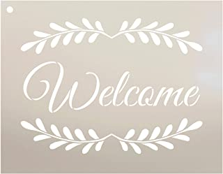 Welcome with Leaves Stencil by StudioR12   Reusable Mylar Template   Use to Paint Wood Signs - Pallets - Pillows - Walls -...