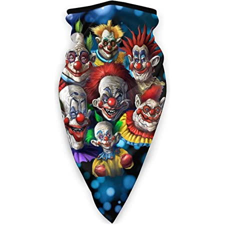 RILEY SINGH Killer Klowns from Outer Space Face Cover Neck Warmer Shield Neck Scarf Multifunctional Headwear Head Wrap Unisex Windproof Breathable Reusable Anti Dust Elastic Shield Balaclava