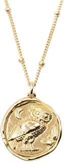 Gold Plated Wisdom Owl Coin Necklace on 14k Gold Filled Chain - 18 inches Long Handmade Necklace by Miller Mae Designs