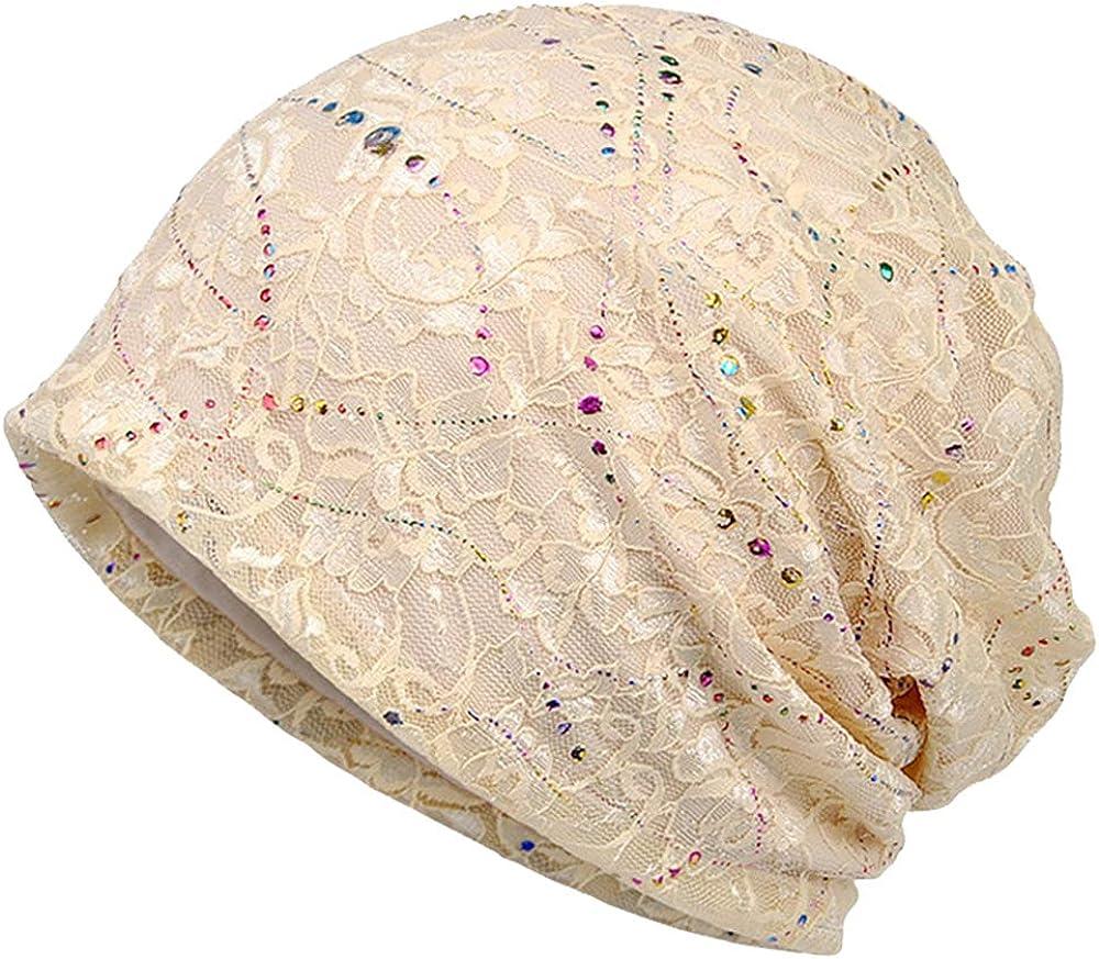 Encaje Floral Estampado Turbante Sombrero Suave Transpirable Casquillo Gorro de Dormir YOFASEN Turbante Mujer