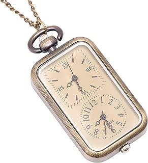 Men's Women's Analogue Quartz Dual Time Zone Pocket Watch Brass Pendant Necklace, 78 cm