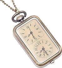 81stgeneration Men's Women's Analogue Quartz Dual Time Zone Pocket Watch Brass Pendant Necklace, 78 cm