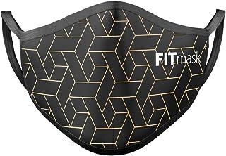 FITmask Mascarilla Reutilizable Lavable Certificada Tejido Hidrófugo Made in Spain Black Maze - Adulto Orejera - L
