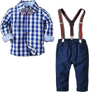 Yilaku Baby Boy Clothes Long Sleeve Shirts + Suspender Pants Set 2pcs Newborn Outfits Clothing Set