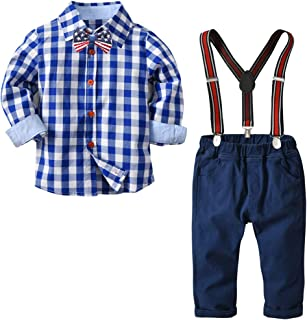 Boys Clothes Set Long Sleeve Shirts+Bow Tie+Suspender Pants 4 pcs Overalls Outfit Suits Infant Gentleman Clothing Set