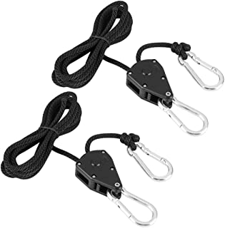 1/8 Inch Adjustable Heavy Duty Rope Clip Hanger Rope Tightener for Led Grow Light Ratchet Hanging Kit Growing Tent & Gardening - 1 Pair