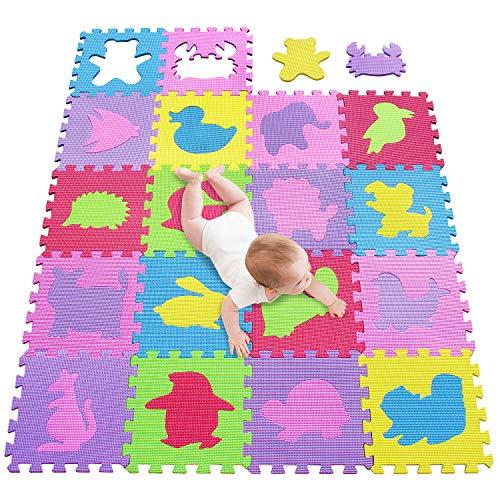 meiqicool Puzzlematte Kinderspielteppich Spielmatte Spielteppich Schaumstoffmatte Kinderteppich, Maß je Matte ca. 30 x 30cm 18 STÜCK 5556