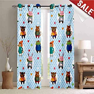 Hengshu Nursery Blackout Window Curtain Collection of Animals with Winter Clothing Hats Hot Coffee on a Dotted Background Customized Curtains W72 x L84 Inch Multicolor