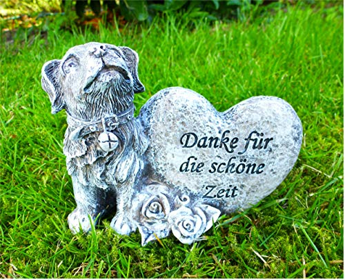 Home3010 ´Hund sitzend am Stein/Gedenken / Grabdeko *Danke für die schöne Zeit * antik