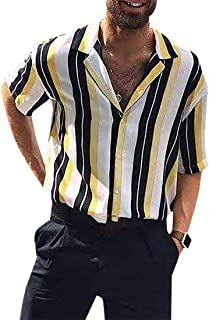 GAGA Men Lapel Casual Button Stripe Printing Short Sleeve Tops T Shirt Blouse
