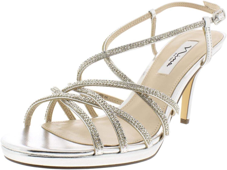 Nina Womens Vilma Metallic Strappy Dress Sandals