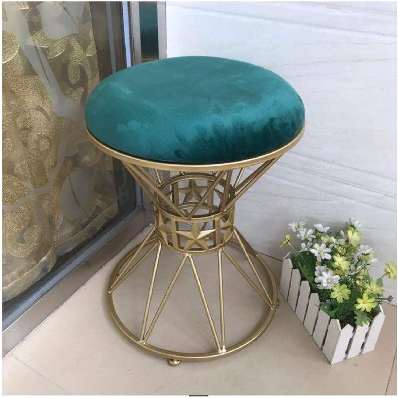 QIQI-LIFE Light Luxury Velvet Boudoir Stool Vanity Stool Round Metal Makeup Chair Dressing Stool Girl (color   Green)