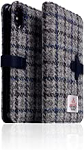 [SLG DESIGN] D5 Special Edition X Harris Tweed for iPhone X/XS I 100% Tweed Wool Fabric Flip Folio Book Case Wallet Cover with Feature Card Slots Compatible with iPhone X/XS (Gray/Blue)