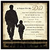 """Dad Prayer Wood Framed Plaque Father Inspiring Quote – 7.5"""" Square Frame Wall & Tabletop Decoration 