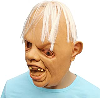 Barlingrock Halloween Mask, Novelty Latex Rubber Creepy Scary Ugly Baby Head The Goonies Sloth Mask Halloween Party Costume Decorations Scary Toothy One Eyed Person Mask Horror Creepy
