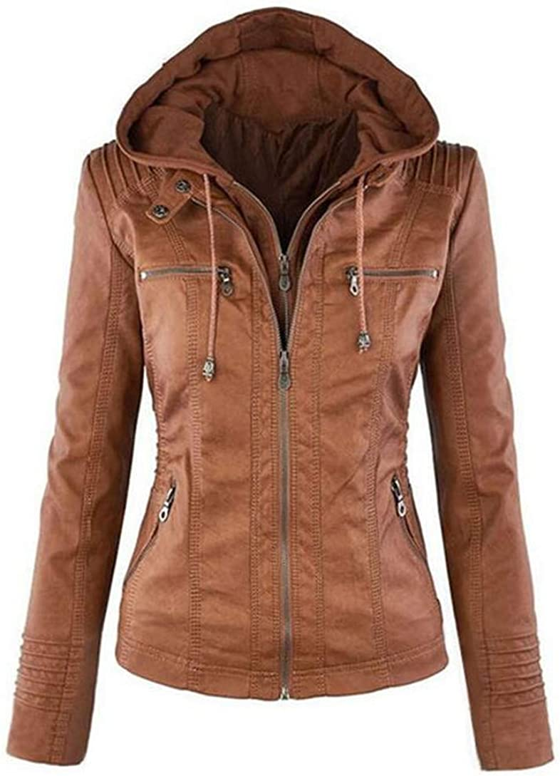 Only Beautiful Womens Hooded Faux Leather Jacket Leather Biker Jacket Short Coat Hoodie Removable Full Zipper Outerwear