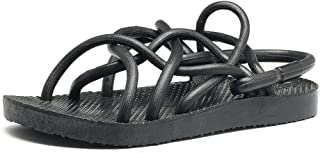 SHENTIANWEI Sandal for Men Slipper Pull on Style PU Upper Solid Color Open Toe Multi Straps Criss Cross Hollow Lightweight Soft Cushioning Youth Trendy