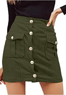 Women's Casual Faux Suede High Waist Button Mini Skirt Whith Pocket
