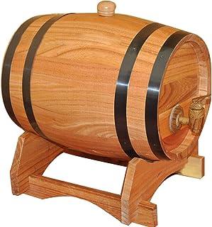 Tonneau à vin en Bois Fût de Whisky, Seau de Rangement en Chêne 10L avec Support Convient pour Conserver Le Vinaigre de Vi...