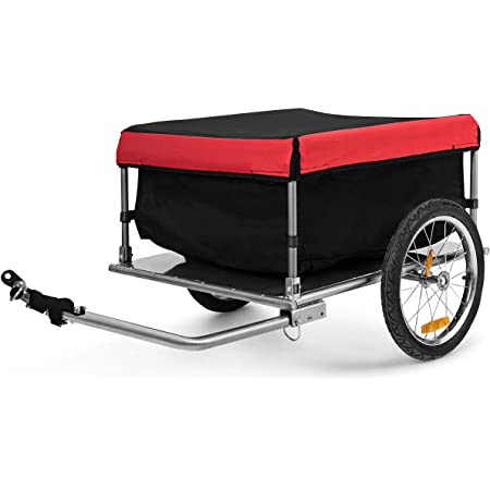 SAMAX Cargo Bike Trailer Transport with Cover and Box Bicycle Cargo Luggage Hand Wagon 60 kg 70 Litre in Green More Colors Available