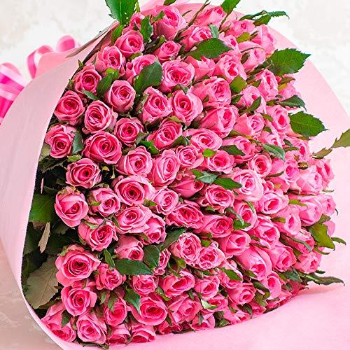バラギフト専門店のマミーローズ 選べるバラ本数セレクト 還暦祝い 誕生日 プロポーズ 贈り物の豪華なバラの花束(生花) ピンク 100本