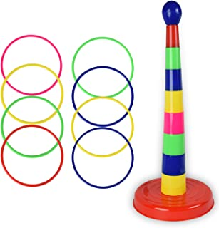 WolVol 18 inch Brightly Colorful Quoits Ring Toss Game Set for Kids