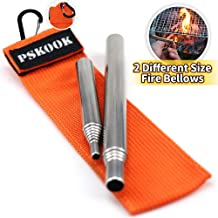 Pocket Bellows Collapsible Fire Tool Stainless Steel Telescoping Fire Blower Collapsible Fire Blower Pipe Tool Builds Campfire By Blasting Air 2Pcs