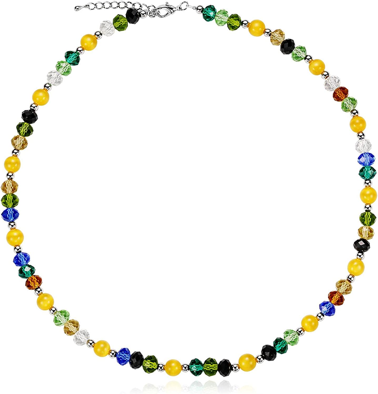 Cute Opal Short Beaded Collar Necklace With Clavicle Chain