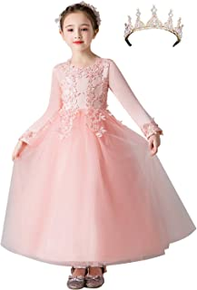 amropi Girls Flower Embroidery Tulle Dress with Crown, Long Sleeve Princess Wedding Dresses for 3-12 Years