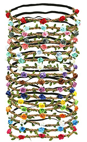 18 PCS Multicolor Flower Headband Women Girl Bohemian Flower Crown Garland headpieces For Festival Wedding