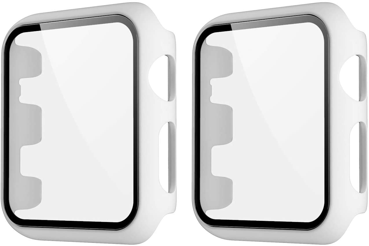 HANKN 2 Pack Matte Case Compatible with Apple Watch Series 3 2 1 42mm Tempered Glass Screen Protector, Full Coverage Hard Pc Shockproof Iwatch Cover Bumper (White+White, 42mm)