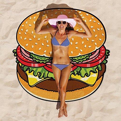 PMS–140x 140cm novedad hamburguesa toalla de playa en Opp bolsa w/Insert