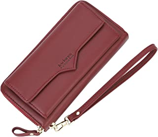 Women's Long Zipper Around Card Wallet Leather Clutch Wristlet Wallet Purse for Ladies