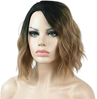 Aimole Short Wavy Heat Resistant Wig Bob Cuts Hairstyle for Women Light Brown Ombre Synthetic Hair Full Wigs