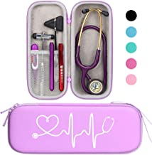 BOVKE Travel Carrying Case for Classic III Stethoscope - Extra Room for Taylor Percussion Reflex Hammer and Reusable LED Penlight, Purple