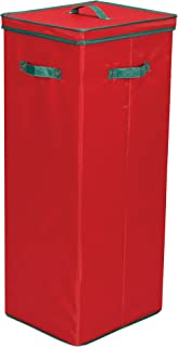 Household Essentials 580RED Wrapping Paper Storage Container | Holds up to 20 Rolls of Christmas Wrappings | Red Box with Green Trim
