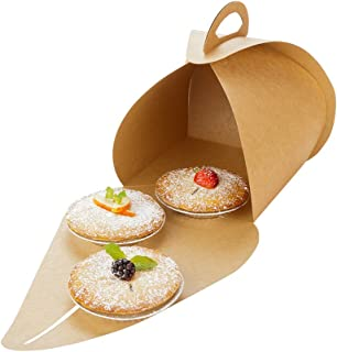 "Pastry To Go Box, Cake To Go Box, Pie To Go Box with Handle - Lunch To Go Box - 6.5"" - Kraft - 100ct Box - Restaurantware"