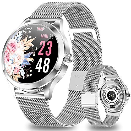 ANMI Smartwatch Damen Silber, IP68 Wasserdicht Fitness Tracker Smart Watch Damen,mit Weibliches Zyklusmanagement Pulsuhr Blutdruckmessgerät Schlafmonitor Damen Armbanduhr für Android iOS(Silber)