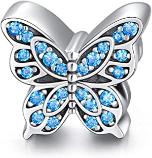 LONAGO Butterfly Charm Fit for Pandora Bracelet Lucky Blue Butterfly Bead Birthday Gift for Girl Women